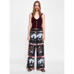 New with tags Zara screen print palazzo pants M